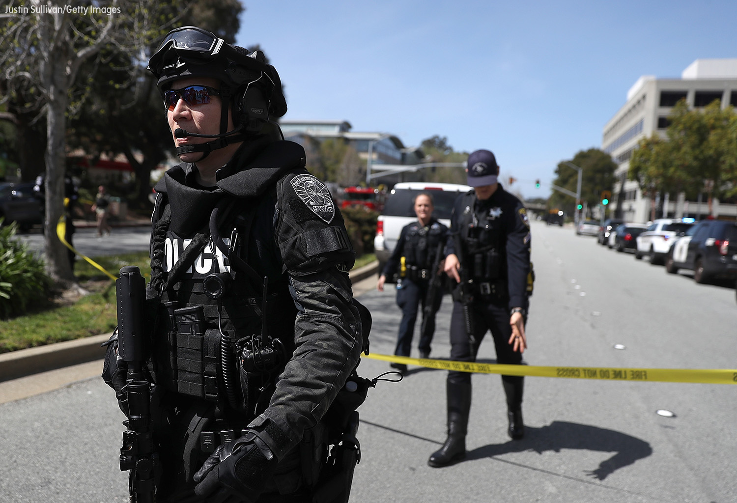 <div class='meta'><div class='origin-logo' data-origin='none'></div><span class='caption-text' data-credit='Justin Sullivan/Getty Images'>Law enforcement stands watch outside of the YouTube headquarters on April 3, 2018 in San Bruno, California.</span></div>