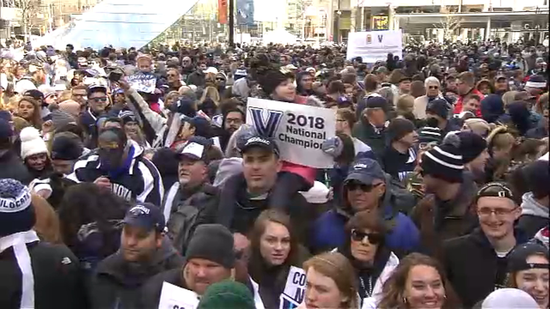 "<div class=""meta image-caption""><div class=""origin-logo origin-image wpvi""><span>WPVI</span></div><span class=""caption-text"">Pictured: Villanova National Championship Parade in Center City Philadelphia on April 5, 2018.</span></div>"