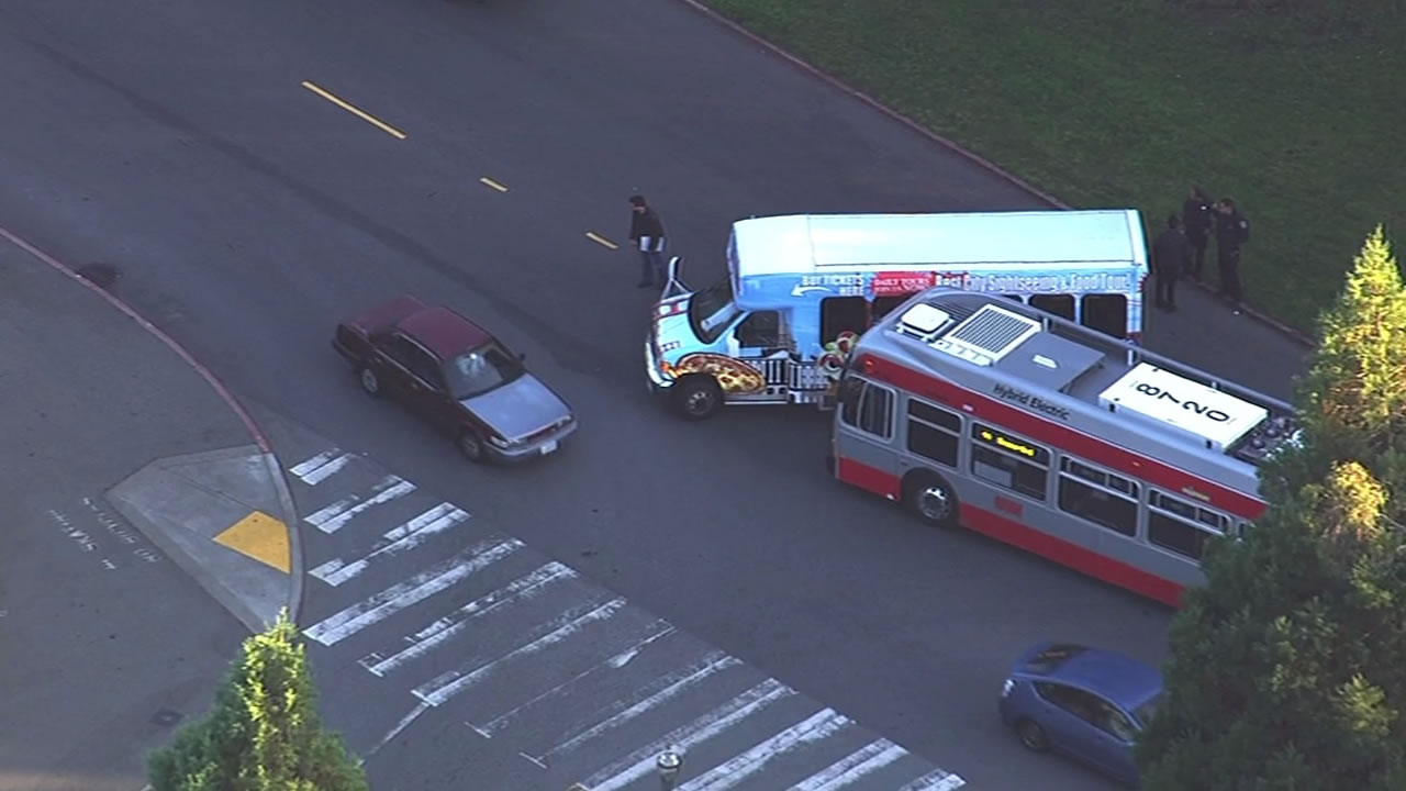 Muni bus involved in accident with tour bus in San Francisco's Golden Gate Park
