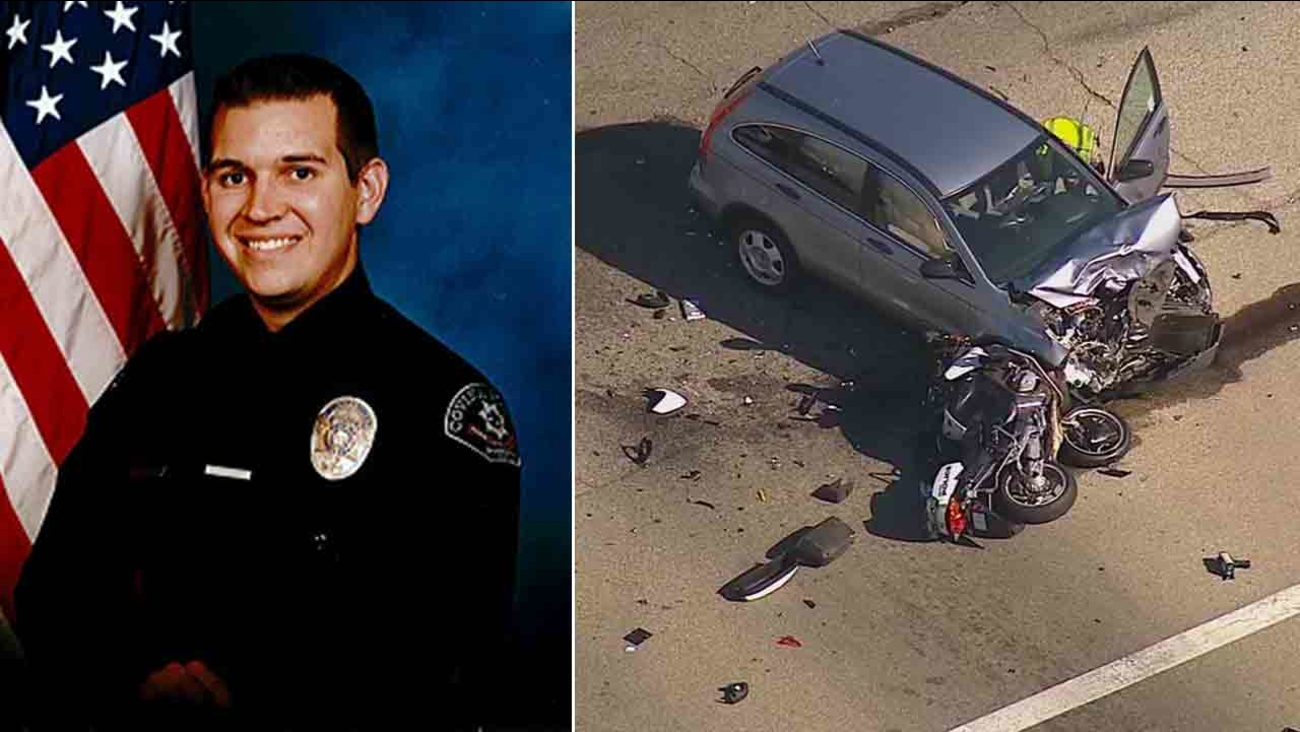 Covina police officer Jordan Corder, 28, was killed in a collision at Puente Street and Citrus Avenue Tuesday, Sept. 30, 2014.