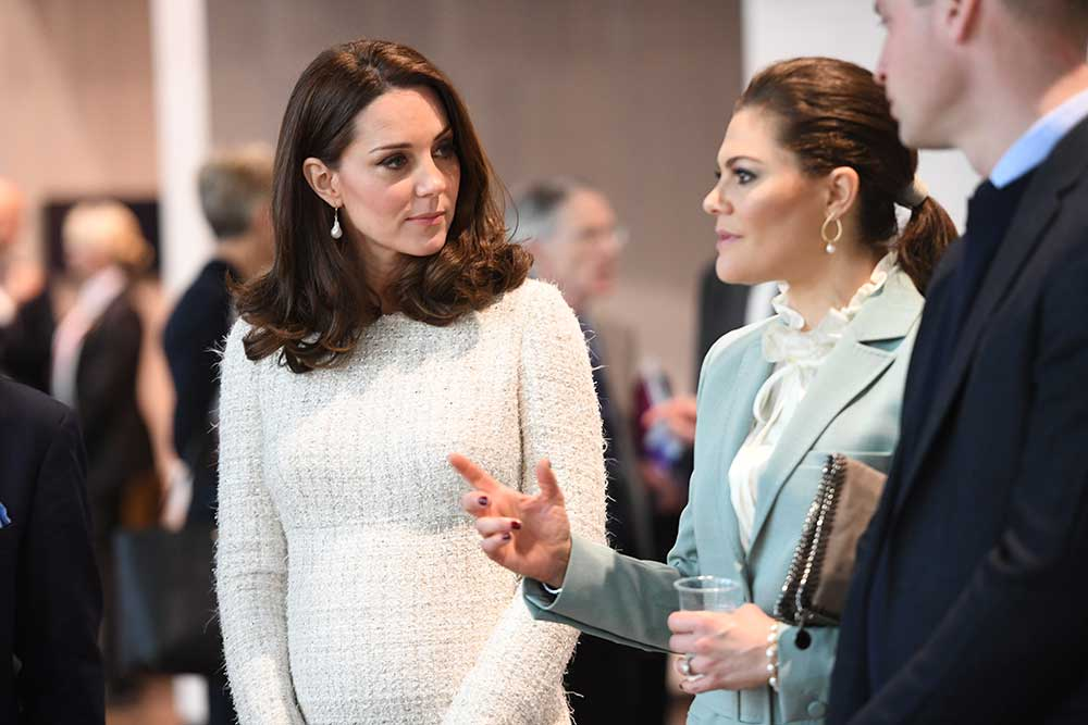 <div class='meta'><div class='origin-logo' data-origin='none'></div><span class='caption-text' data-credit='Henrik Montgomery/TT via AP'>Britain's Princess Kate Duchess of Cambridge, and Crown Princess Victoria of Sweden, talk during their visit at the Karolinksa Institute in Solna, Sweden, Wednesday Jan. 31, 2018.</span></div>