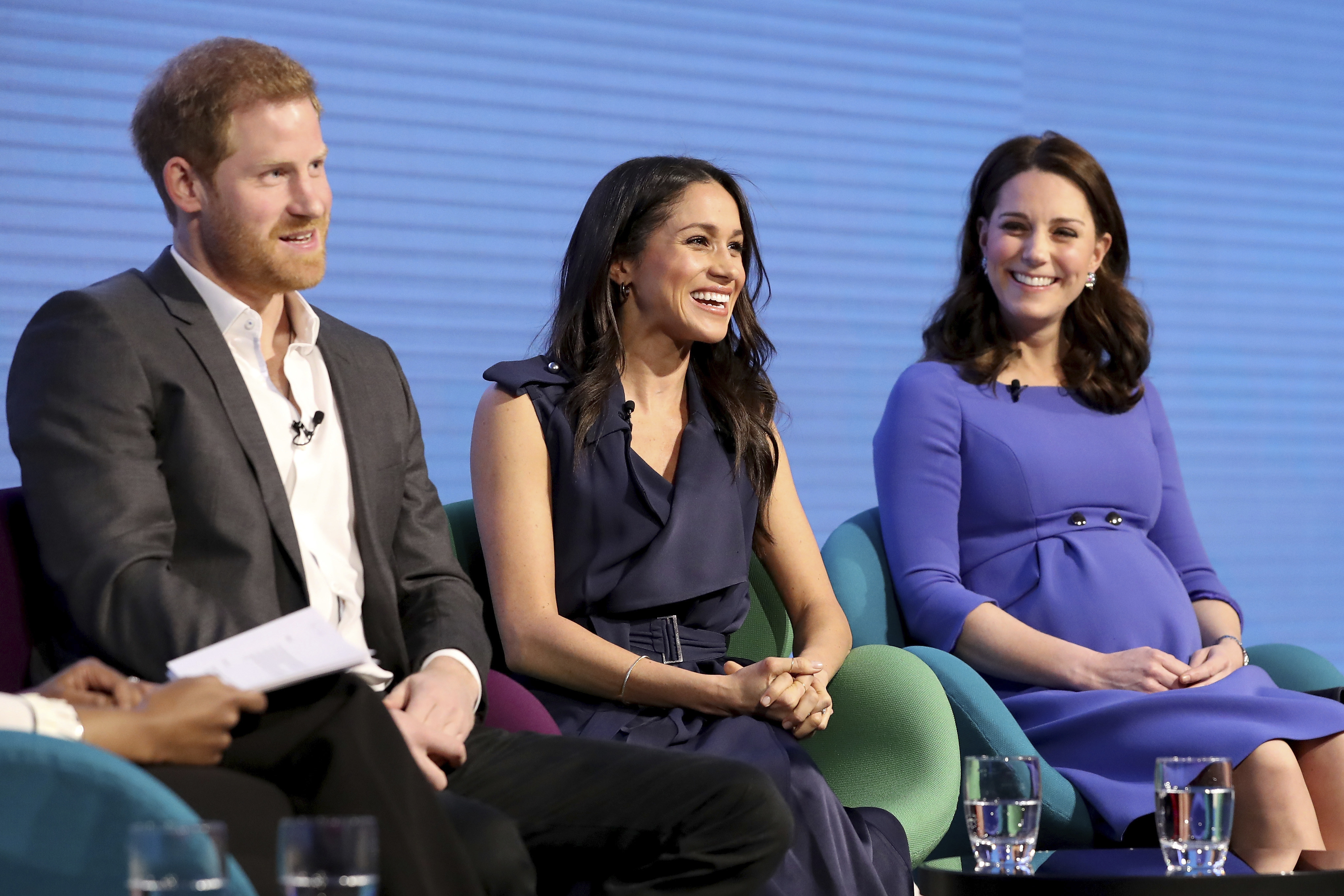<div class='meta'><div class='origin-logo' data-origin='none'></div><span class='caption-text' data-credit='Chris Jackson/Pool via AP'>Britain's Kate, Duchess of Cambridge, right, with Prince Harry and his fiancee Meghan Markle attend the first annual Royal Foundation Forum in London, Wednesday Feb. 28, 2018.</span></div>