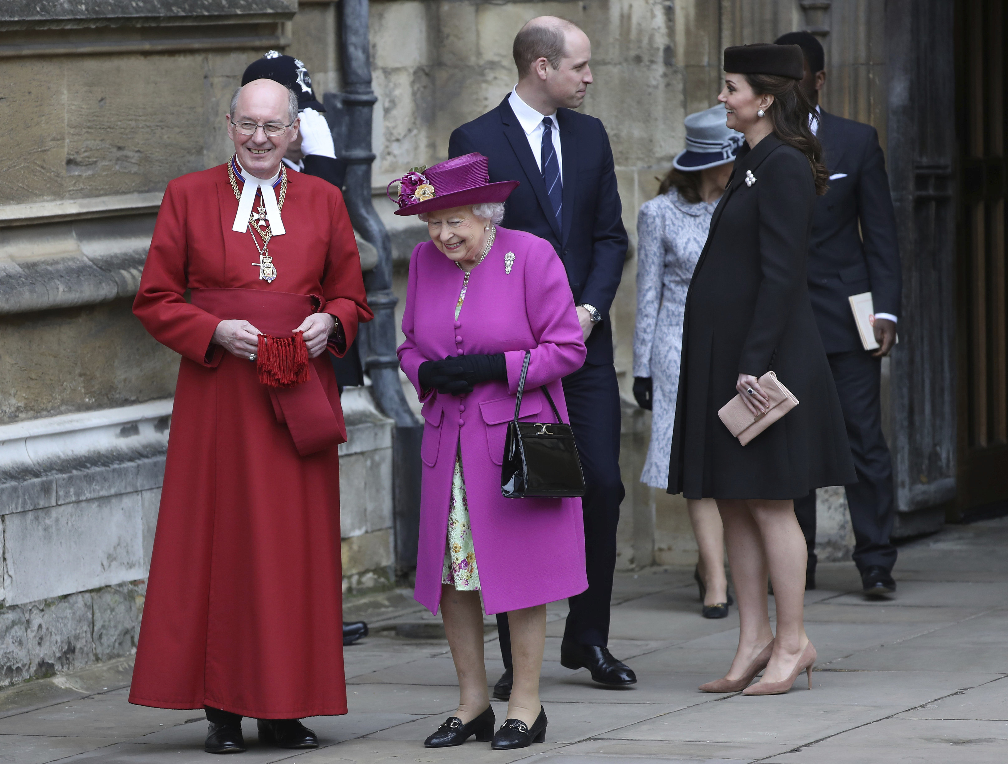 "<div class=""meta image-caption""><div class=""origin-logo origin-image none""><span>none</span></div><span class=""caption-text"">Queen Elizabeth II, with Prince William and Kate, Duchess of Cambridge, leave the annual Easter Sunday service at St George's Chapel at Windsor Castle in Windsor on April 1, 2018. (Simon Dawson/pool via AP)</span></div>"
