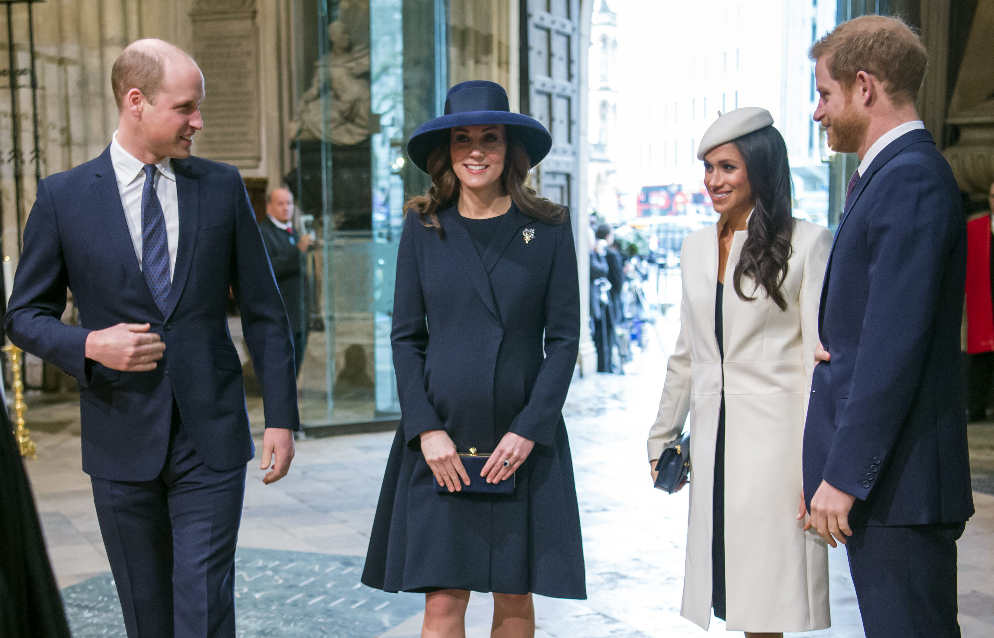 <div class='meta'><div class='origin-logo' data-origin='none'></div><span class='caption-text' data-credit='Paul Grover/Pool Photo via AP'>Britain's Prince William, Kate the Duchess of Cambridge, Meghan Markle and Britain's Prince Harry arrive for the Commonwealth Service at Westminster Abbey on March 12, 2018.</span></div>
