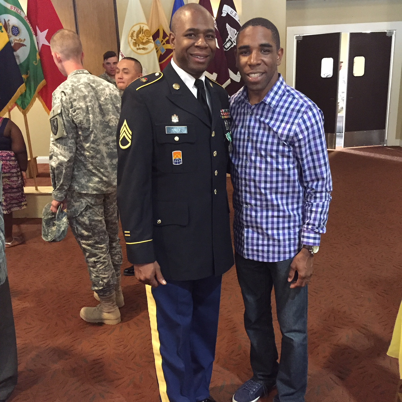 "<div class=""meta image-caption""><div class=""origin-logo origin-image wtvd""><span>WTVD</span></div><span class=""caption-text"">DeJuan celebrating his brother's retirement from the US Army after 20 years of service. (Credit: DeJuan Hoggard)</span></div>"