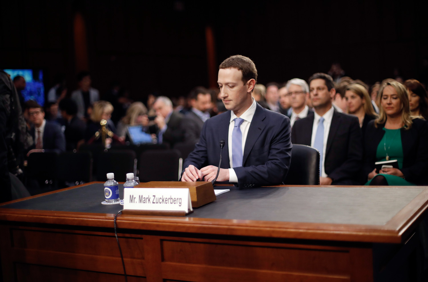 <div class='meta'><div class='origin-logo' data-origin='none'></div><span class='caption-text' data-credit='Pablo Martinez Monsivais/AP Photo'>Facebook CEO Mark Zuckerberg arrives to testify before a joint hearing of the Commerce and Judiciary Committees on Capitol Hill in Washington.</span></div>