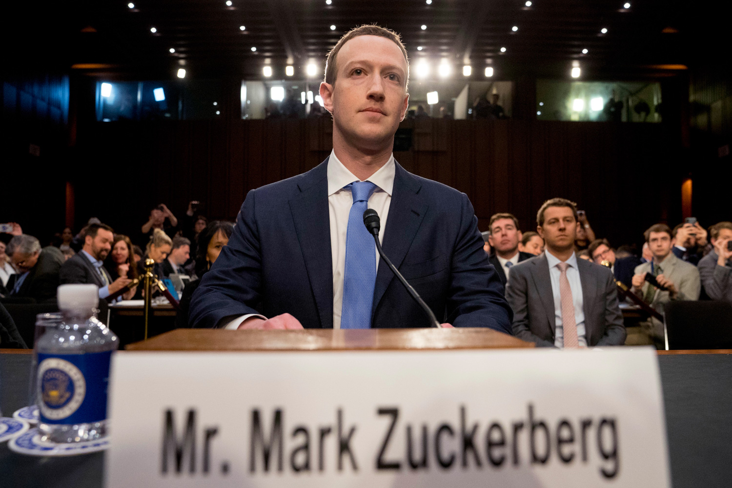 <div class='meta'><div class='origin-logo' data-origin='none'></div><span class='caption-text' data-credit='Andrew Harnik/AP Photo'>Facebook CEO Mark Zuckerberg arrives to testify before a joint hearing of the Commerce and Judiciary Committees on Capitol Hill in Washington.</span></div>