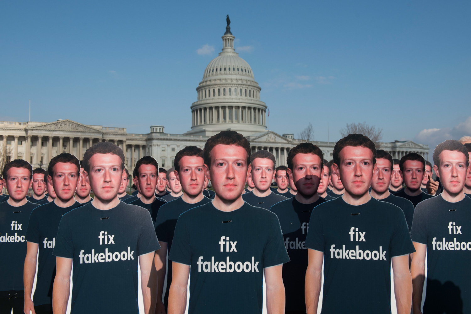 "<div class=""meta image-caption""><div class=""origin-logo origin-image none""><span>none</span></div><span class=""caption-text"">Advocacy group Avaaz placed 100 cardboard cutouts of Mark Zuckerberg outside the U.S. Capitol in Washington on the day of his testimony to Congress. (Kevin Wolf/AP images for AVAAZ)</span></div>"