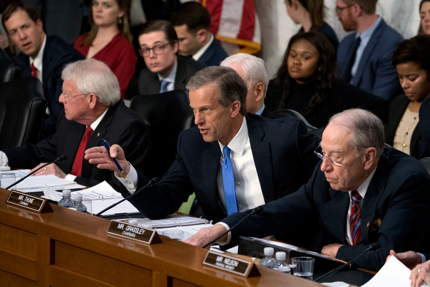 <div class='meta'><div class='origin-logo' data-origin='none'></div><span class='caption-text' data-credit='Andrew Harnik/AP Photo'>Sen. John Thune, R-S.D., center, questions Facebook CEO Mark Zuckerberg as he testifies before a joint hearing of the Commerce and Judiciary Committees on Capitol Hill.</span></div>