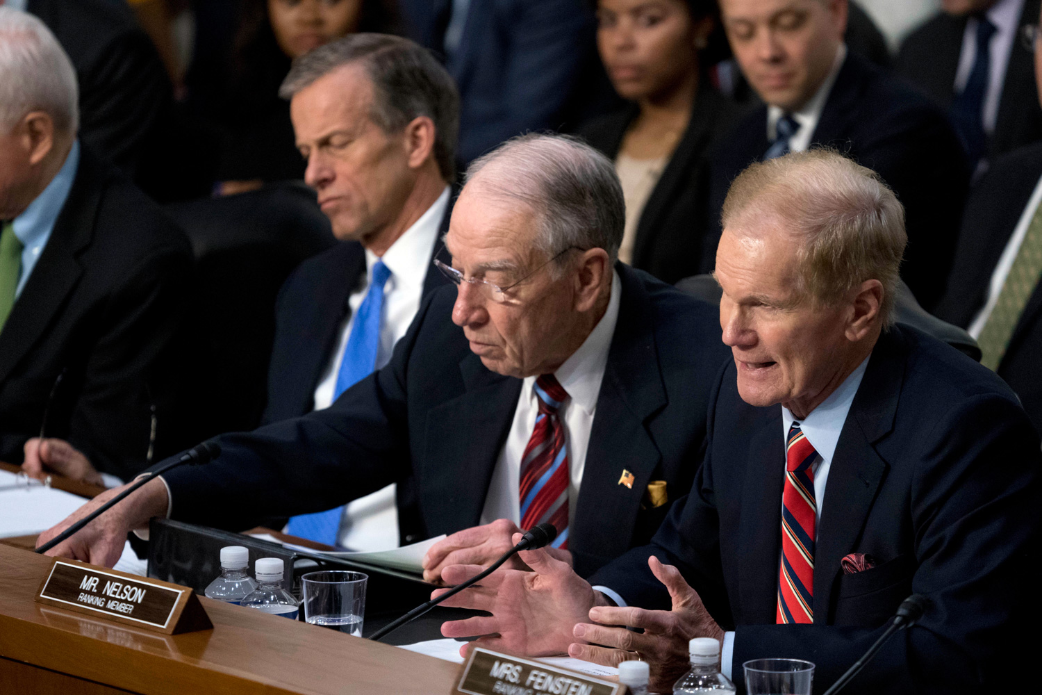 "<div class=""meta image-caption""><div class=""origin-logo origin-image none""><span>none</span></div><span class=""caption-text"">Sen. Bill Nelson, D-Fla., right, accompanied by Sen. John Thune, R-S.D., left, and Sen. Chuck Grassley, R-Iowa, second from left, speaks as Facebook CEO Mark Zuckerberg testifies. (Andrew Harnik/AP Photo)</span></div>"