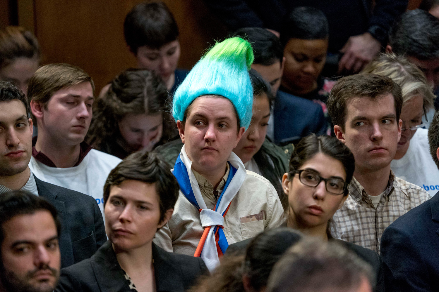 <div class='meta'><div class='origin-logo' data-origin='none'></div><span class='caption-text' data-credit='Andrew Harnik/AP Photo'>An audience member wearing a blue and green pointy wig, aiming to look like a Russian troll as Facebook CEO Mark Zuckerberg testifies.</span></div>