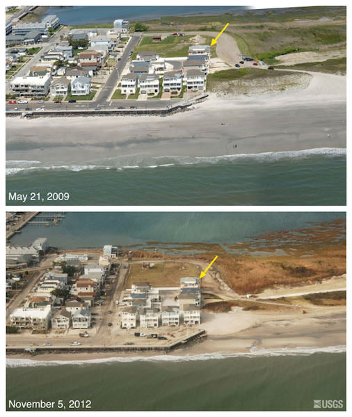 "<div class=""meta image-caption""><div class=""origin-logo origin-image ""><span></span></div><span class=""caption-text"">Oblique aerial photographs of Brigantine, NJ. View looking northwest along the New Jersey shore. Storm waves and surge eroded the beach and exposed the seawall. Overwash of the seawall is indicated by sand deposited on the street. Low dunes on the eastern flank of the seawall were eroded. The yellow arrow in each image points to the same feature.</span></div>"