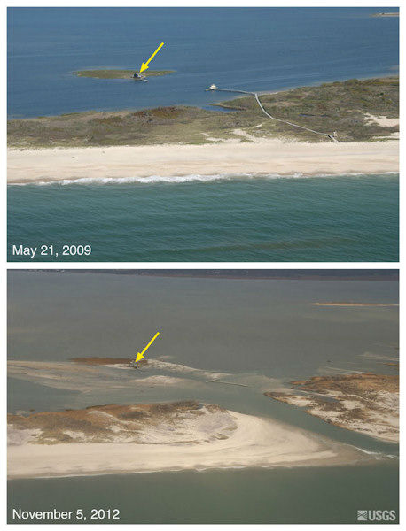 "<div class=""meta image-caption""><div class=""origin-logo origin-image ""><span></span></div><span class=""caption-text"">Oblique aerial photographs of Pelican Island and Fire Island, New York. The view is looking northwest across Fire Island towards Great South Bay. This location is within Fire Island National Seashore near Old Inlet - a very narrow portion of the island that has experienced breaching in previous large storms. The island breached during Sandy, creating a new inlet. Despite the breach, the fishing shack (yellow arrow) remained standing.</span></div>"