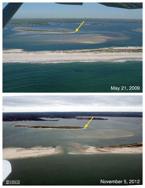 "<div class=""meta image-caption""><div class=""origin-logo origin-image ""><span></span></div><span class=""caption-text"">Oblique aerial photographs of Cupsogue Beach, New York. The view is looking northwest across West Hampton towards Great South Bay. The breach that formed during Sandy is just east of Moriches Inlet, which formed during a large nor'easter storm in 1931 and was stabilized in the 1950s. The yellow arrow in each image points to the same feature.</span></div>"
