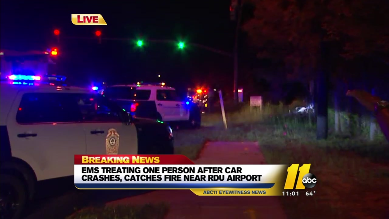 woman injured after car crashes, catches fire near rdu | abc11