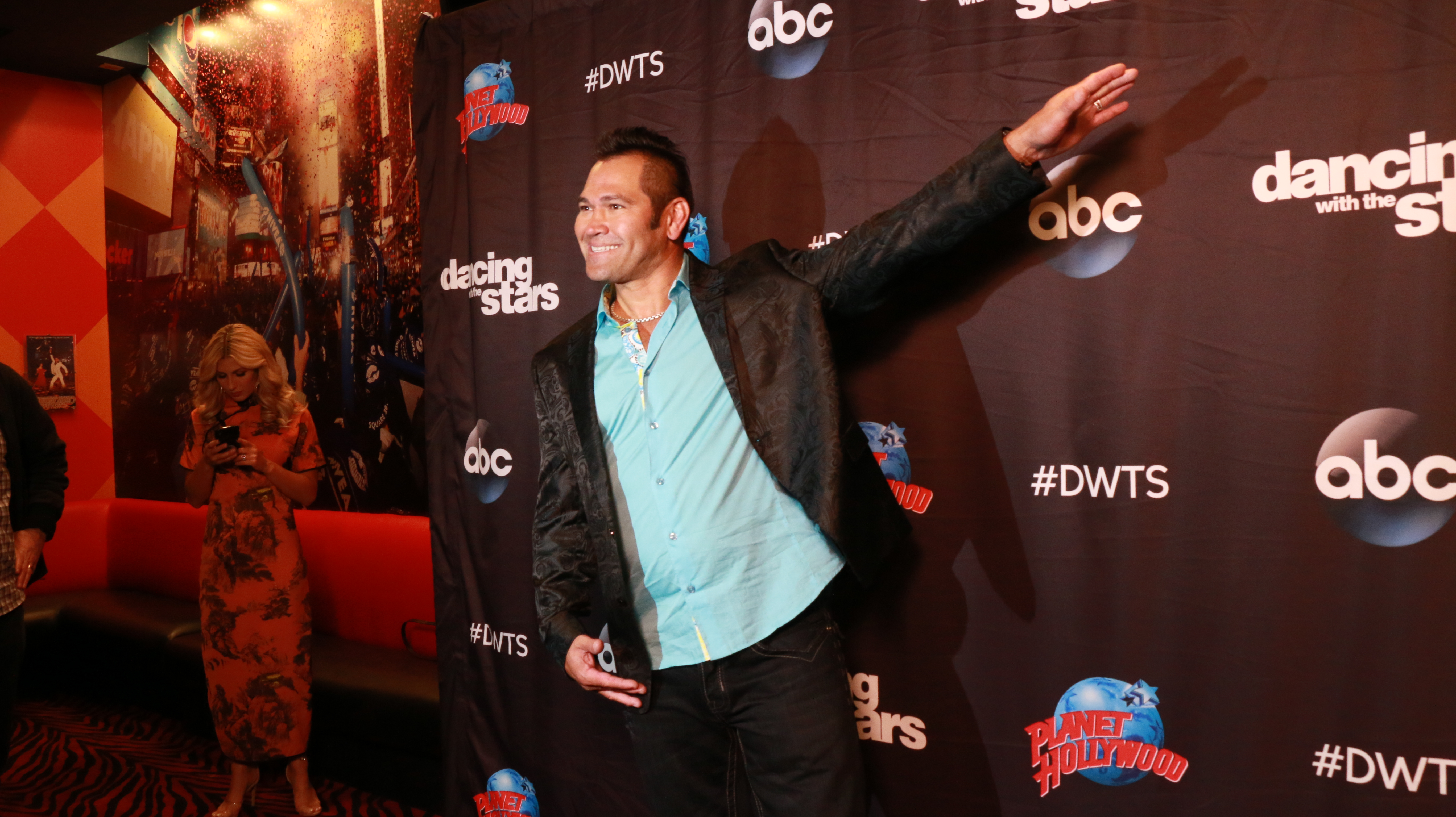 <div class='meta'><div class='origin-logo' data-origin='none'></div><span class='caption-text' data-credit='Heather Harkins/WABC'>Johnny Damon on the red carpet of the ''Dancing with the Stars'' cast announcement on ''Good Morning America.''</span></div>