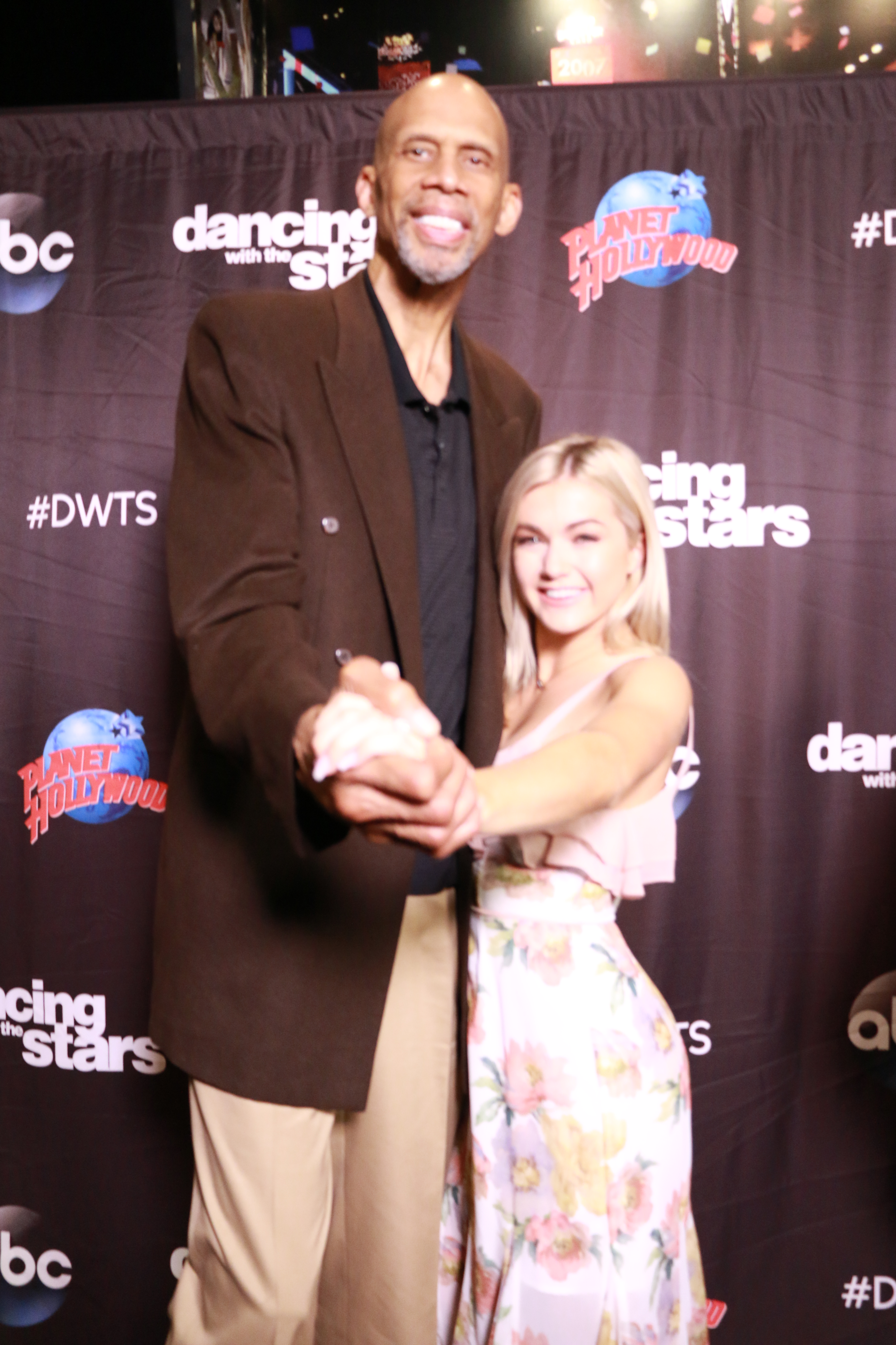 <div class='meta'><div class='origin-logo' data-origin='none'></div><span class='caption-text' data-credit='Heather Harkins/WABC'>Kareem Abdul-Jabbar with Lindsay Arnold on the red carpet of the ''Dancing with the Stars'' cast announcement on ''Good Morning America.''</span></div>