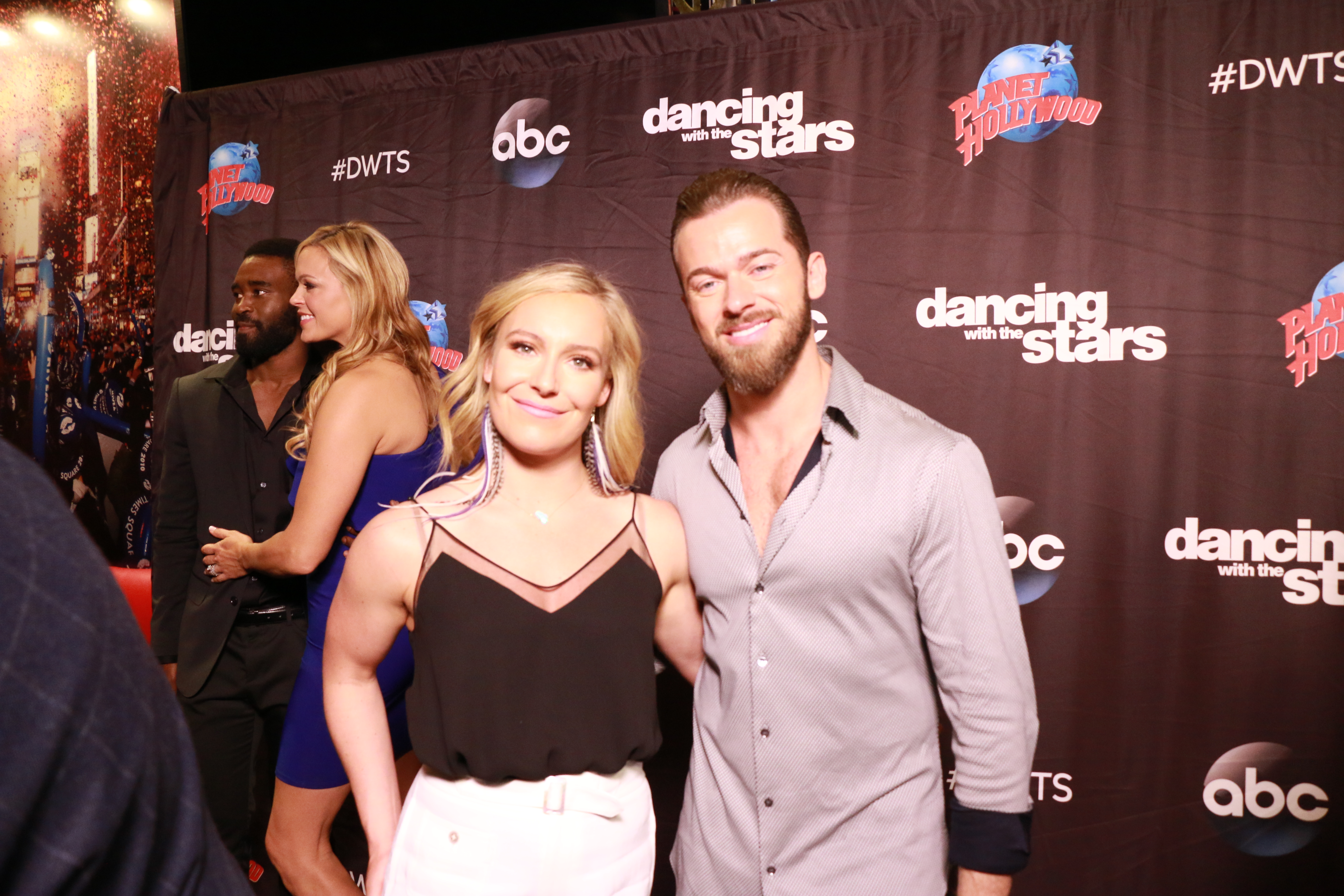 <div class='meta'><div class='origin-logo' data-origin='none'></div><span class='caption-text' data-credit='Heather Harkins/WABC'>Jamie Anderson with Artem Chigvintsev on the red carpet of the ''Dancing with the Stars'' cast announcement on ''Good Morning America.''</span></div>