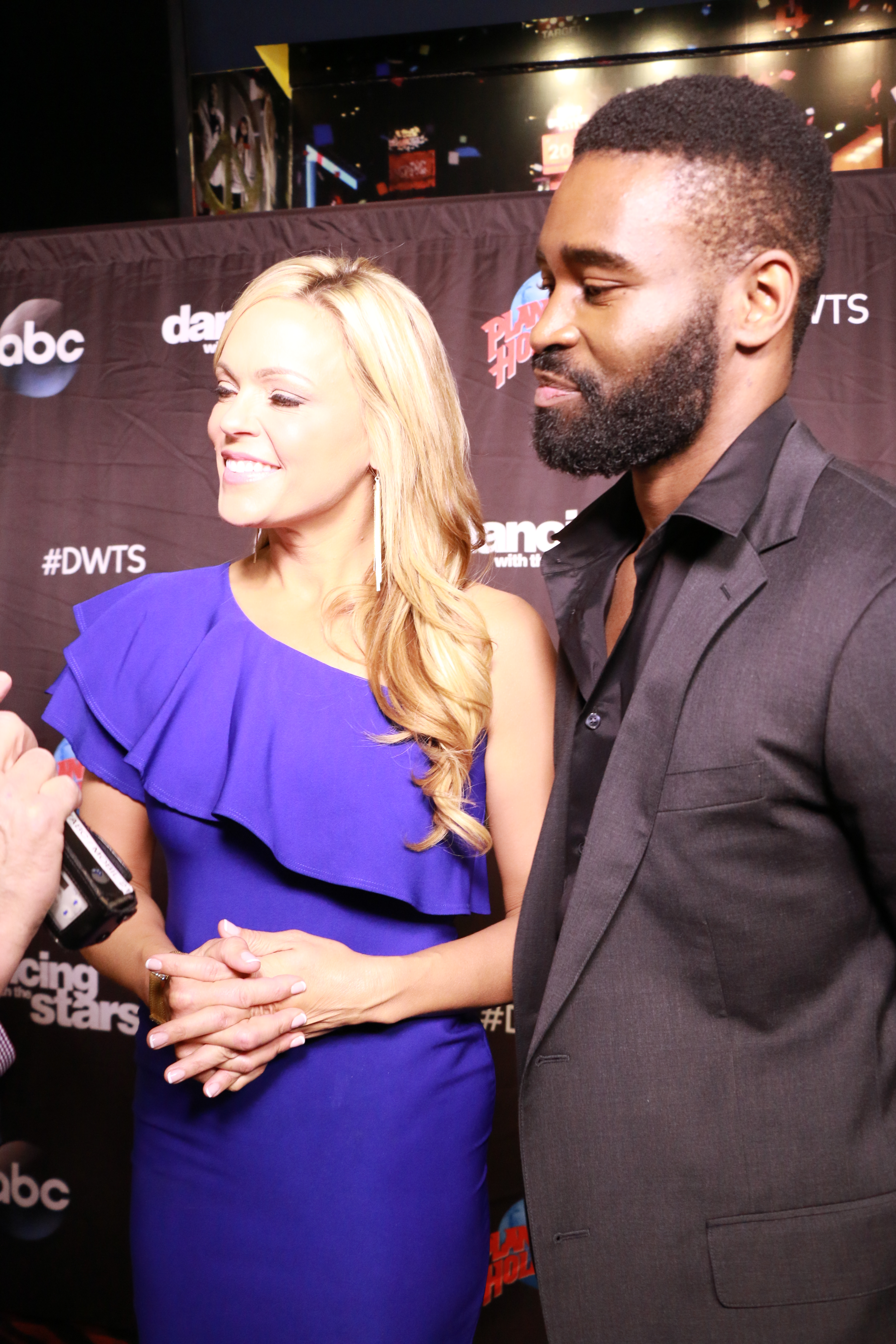 <div class='meta'><div class='origin-logo' data-origin='none'></div><span class='caption-text' data-credit='Heather Harkins/WABC'>Jennie Finch with Keo Motsepe on the red carpet of the ''Dancing with the Stars'' cast announcement on ''Good Morning America.''</span></div>