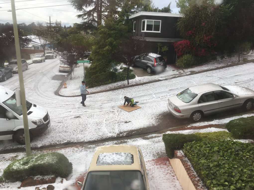 <div class='meta'><div class='origin-logo' data-origin='none'></div><span class='caption-text' data-credit='Photo submitted to KGO-TV by @mediagrunt/Twitter'>Hail fell so thickly it looked like snow in Oakland, Calif. on Monday, April 16, 2018.</span></div>