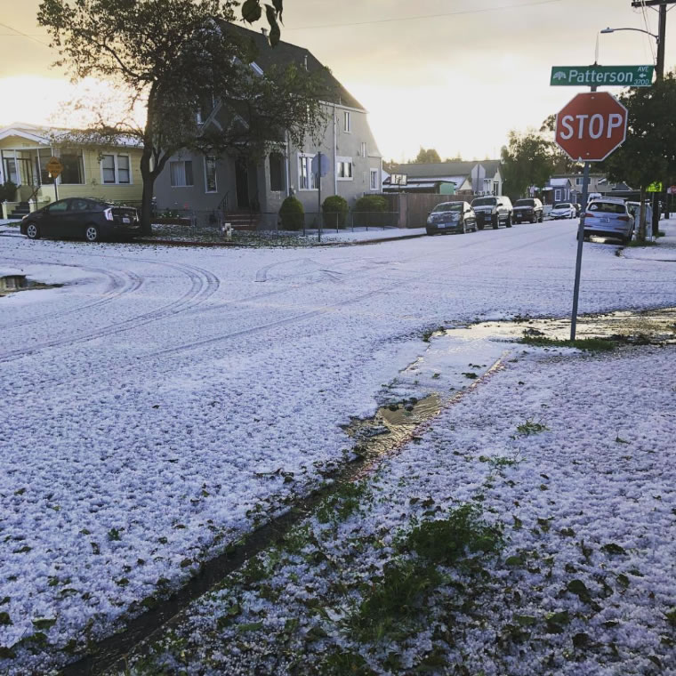 <div class='meta'><div class='origin-logo' data-origin='none'></div><span class='caption-text' data-credit='Photo submitted to KGO-TV by @sherbeez/Instagram'>Hail fell so thickly in the East Bay it looked like snow on Monday, April 16, 2018.</span></div>