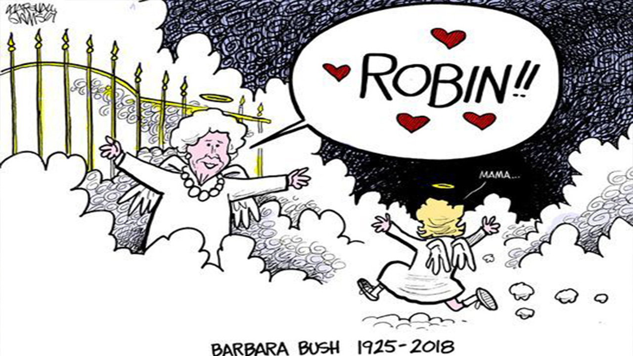 Barbara Bush and her Robin, who died at the age of three from Leukemia, reunite in Heaven