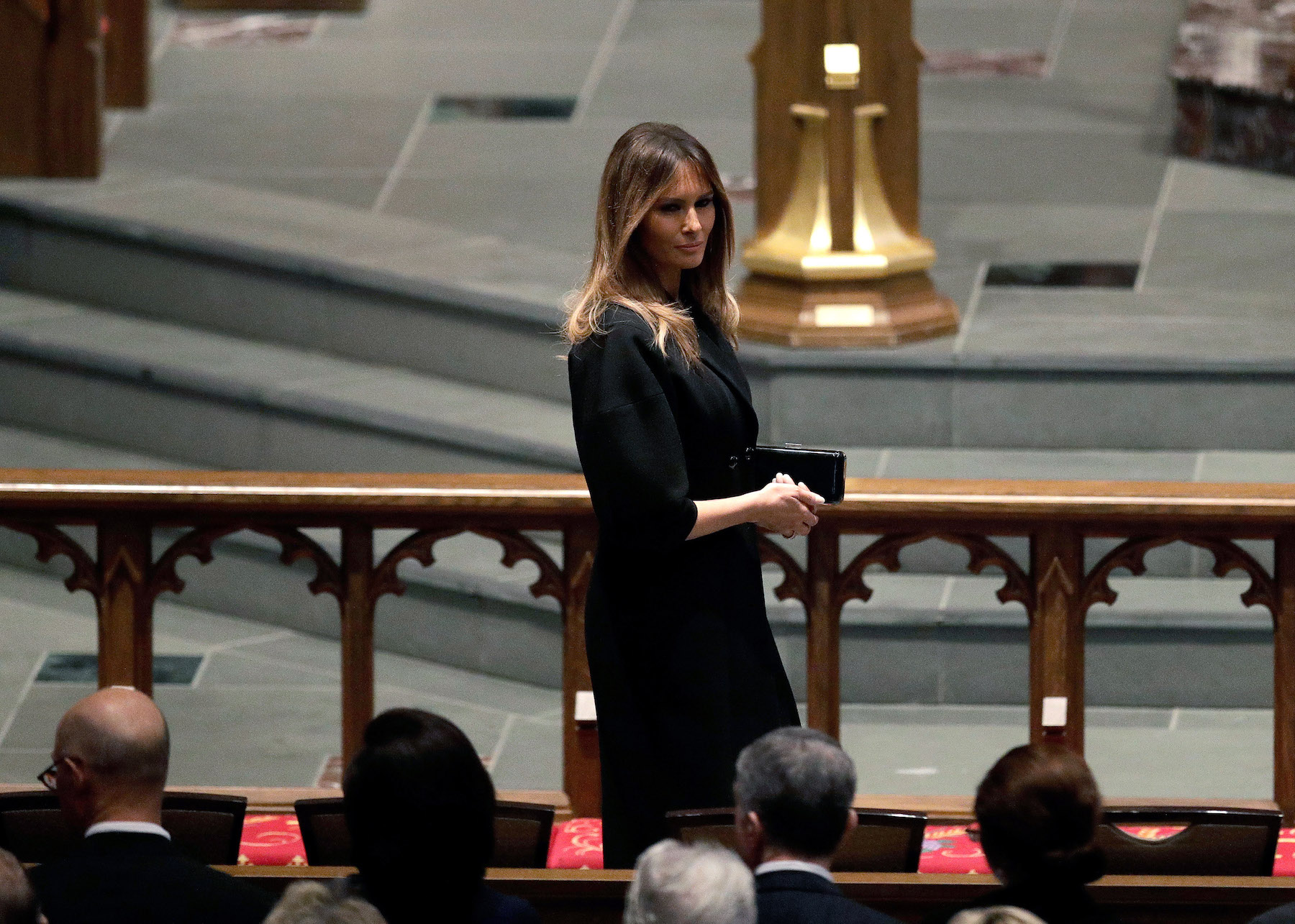<div class='meta'><div class='origin-logo' data-origin='none'></div><span class='caption-text' data-credit='David J. Phillip-Pool/Getty Images'>First Lady Melania Trump arrives at St. Martin's Episcopal Church for a funeral service for former first lady Barbara Bush.</span></div>
