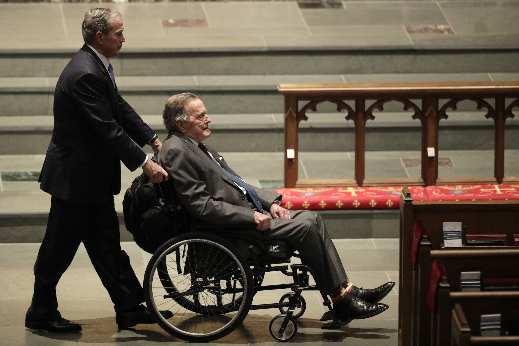 <div class='meta'><div class='origin-logo' data-origin='AP'></div><span class='caption-text' data-credit='AP Photo/David J. Phillip'>Former Presidents George W. Bush, left, and George H.W. Bush arrive at St. Martin's Episcopal Church for a funeral service for former first lady Barbara Bush.</span></div>