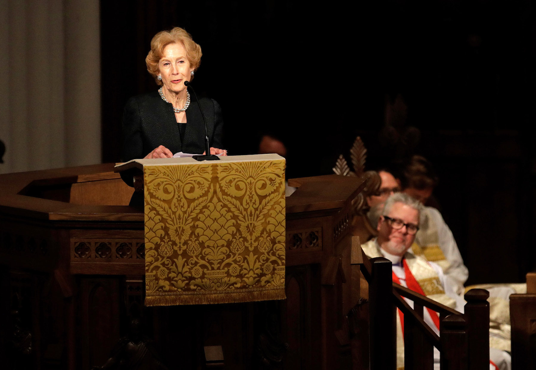 "<div class=""meta image-caption""><div class=""origin-logo origin-image none""><span>none</span></div><span class=""caption-text"">Susan Baker speaks during a funeral service for former first lady Barbara Bush at St. Martin's Episcopal Church, April 21, 2018 in Houston, Texas. (Getty David J. Phillip-Pool/Getty Images)</span></div>"