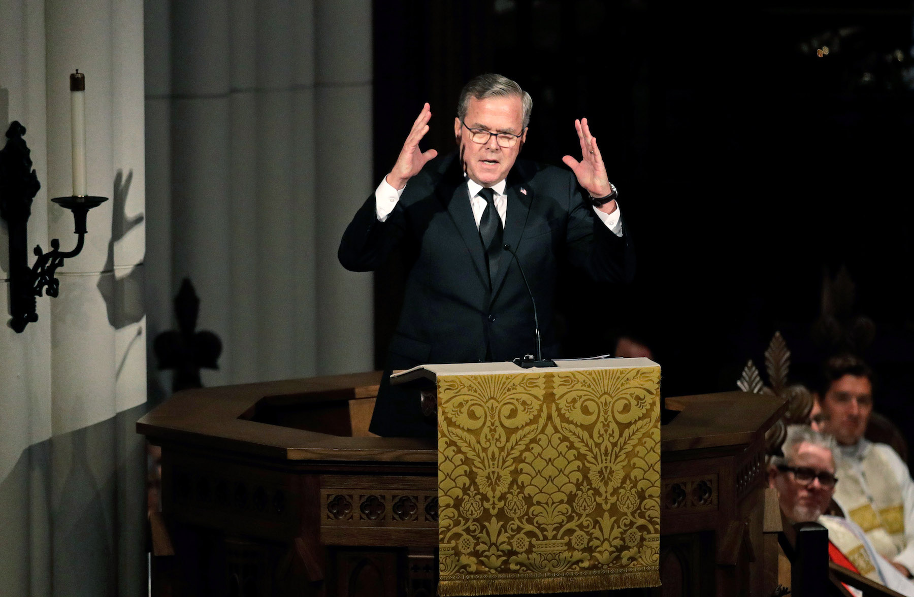 <div class='meta'><div class='origin-logo' data-origin='none'></div><span class='caption-text' data-credit='David J. Phillip-Pool/Getty Images'>Former Florida Governor Jeb Bush speaks during a funeral service for his mother, former first lady Barbara Bush at St. Martin's Episcopal Church.</span></div>