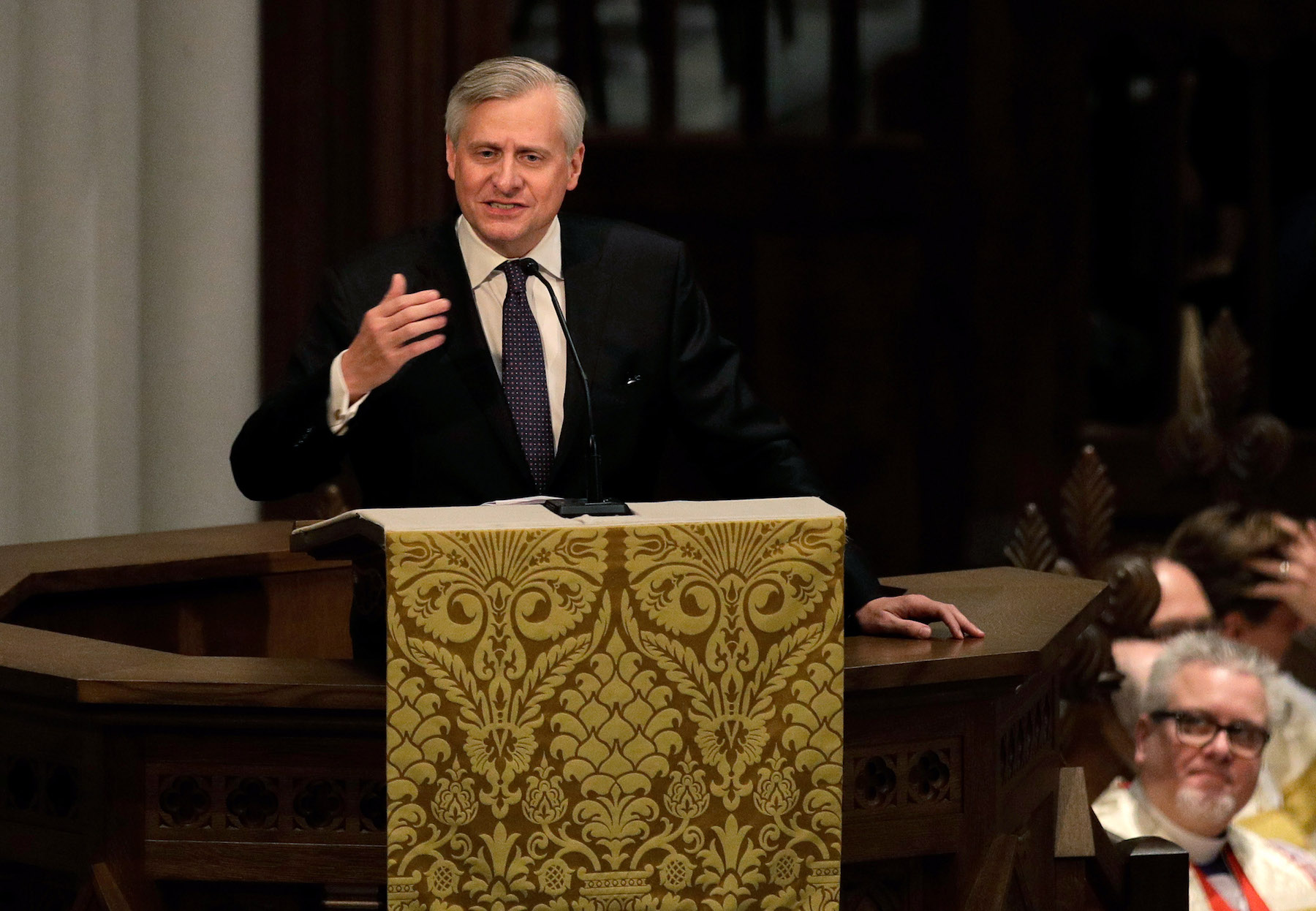 <div class='meta'><div class='origin-logo' data-origin='none'></div><span class='caption-text' data-credit='David J. Phillip-Pool/Getty Images'>Jon Meacham speaks during a funeral service for former first lady Barbara Bush at St. Martin's Episcopal Church, April 21, 2018 in Houston, Texas.</span></div>