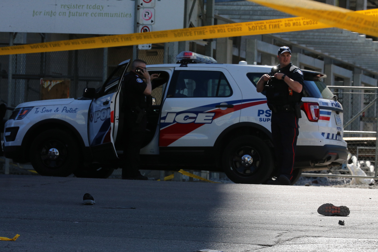 <div class='meta'><div class='origin-logo' data-origin='none'></div><span class='caption-text' data-credit='Steve Russell/Toronto Star via Getty Images'>Police have Yonge Street blocked off at Parkview Avenue where on of the victims lies on the East side of the street as the Police investigate a van that ran down pedestrians.</span></div>
