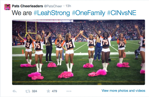 "<div class=""meta image-caption""><div class=""origin-logo origin-image ""><span></span></div><span class=""caption-text"">The New England Patriots cheerleaders showing their support. (PatsCheer / Twitter)</span></div>"