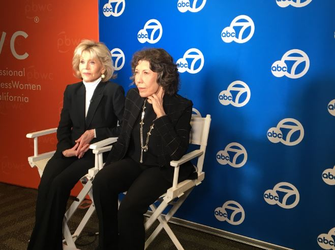 "<div class=""meta image-caption""><div class=""origin-logo origin-image none""><span>none</span></div><span class=""caption-text"">Actresses Jane Fonda and Lily Tomlin are seen at the Professional BusinessWomen of California Conference on Tuesday, April 24, 2018.</span></div>"