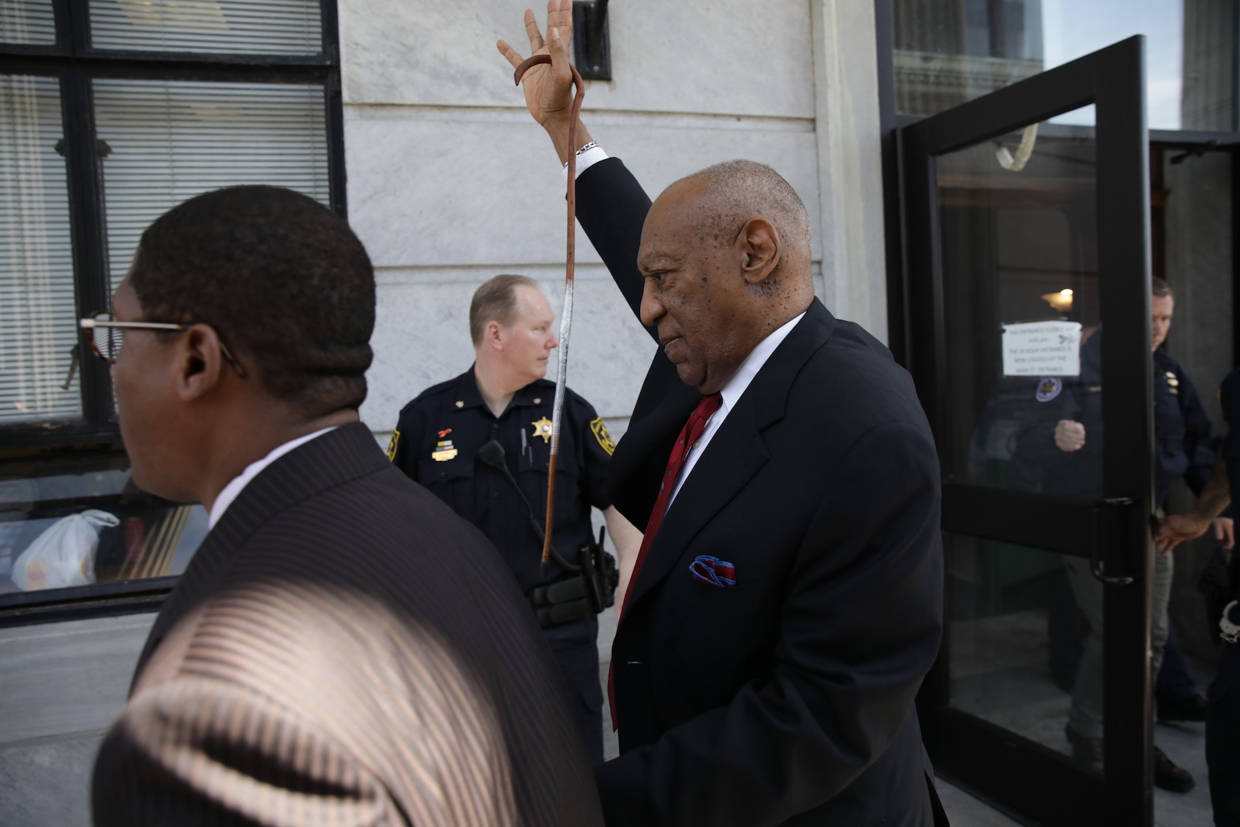 <div class='meta'><div class='origin-logo' data-origin='none'></div><span class='caption-text' data-credit='Dominick Reuter/AFP/Getty Images'>Bill Cosby comes out of the Courthouse after the verdict in the retrial of his sexual assault case at the Montgomery County Courthouse in Norristown, Pennsylvania.</span></div>