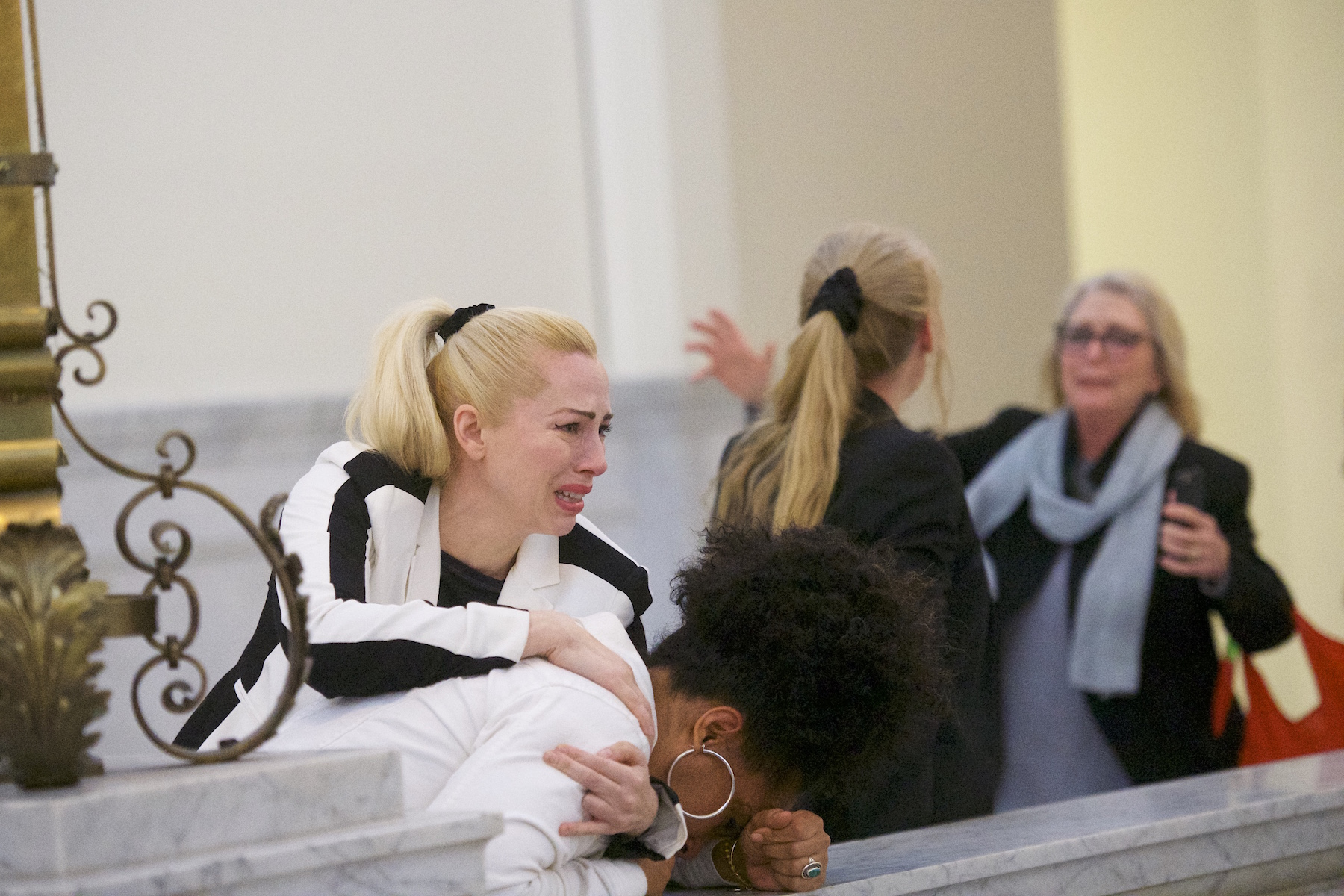 <div class='meta'><div class='origin-logo' data-origin='none'></div><span class='caption-text' data-credit='Dominick Reuter/AFP/Getty Images'>Bill Cosby accusers Caroline Heldman, Lili Bernard and Victoria Valentino react after the guilty on all counts verdict was delivered in the sexual assault retrial.</span></div>
