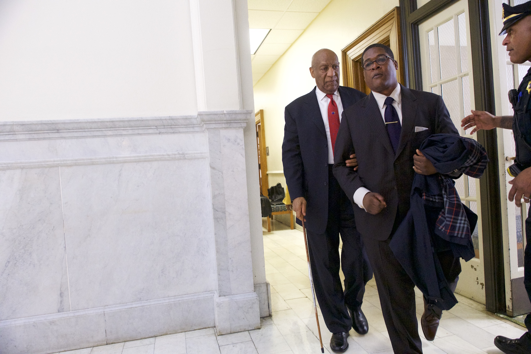 <div class='meta'><div class='origin-logo' data-origin='none'></div><span class='caption-text' data-credit='Dominick Reuter/AFP/Getty Images'>Bill Cosby departs the Montgomery County Courthouse with his publicist, Andrew Wyatt, after being found guilty on all counts in his sexual assault retrial.</span></div>