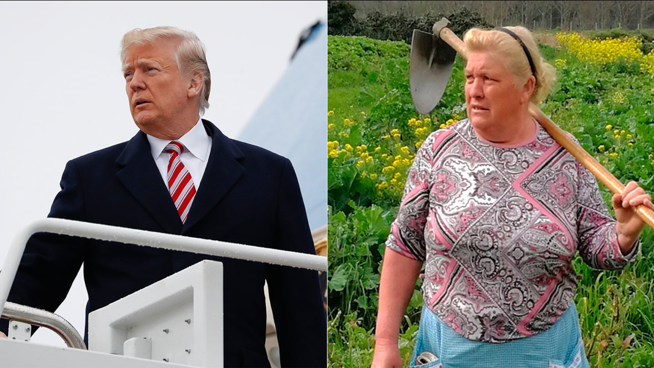 Dolores Leis (right) stands in a field on her farm in Galicia, Spain, on April 19, 2018. President Donald Trump (left) boards Air Force One on April 16, 2018.