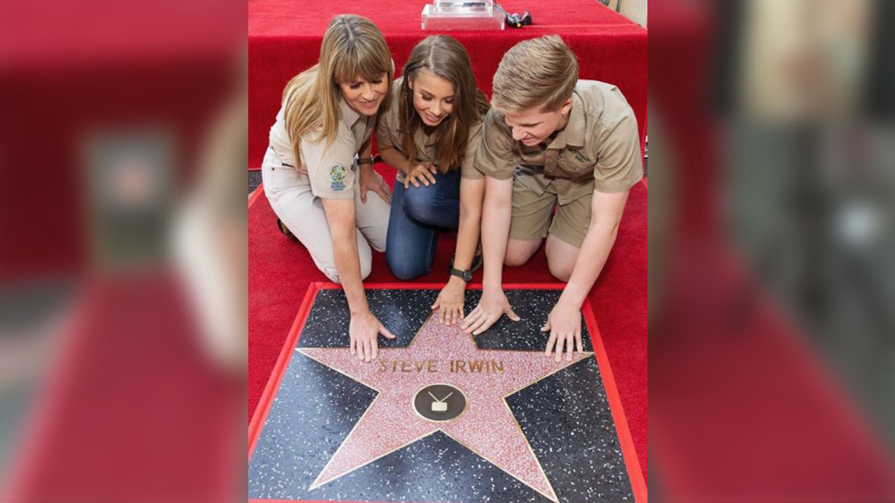 The Irwin family accept a star on Hollywood's Walk of Fame for the late Steve Irwin