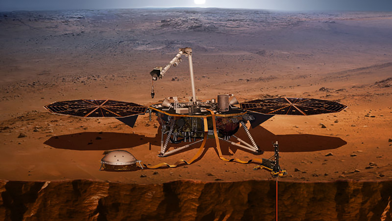 An artist's rendering of the InSight lander, set to launch May 5, 2018, from Vandenberg Air Force Base.