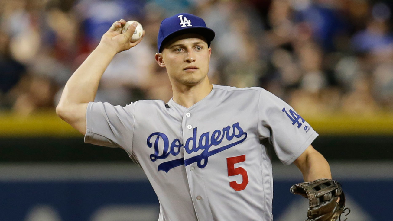 Los Angeles Dodgers shortstop Corey Seager (5) during a baseball game against the Arizona Diamondbacks, Tuesday, April 3, 2018, in Phoenix.