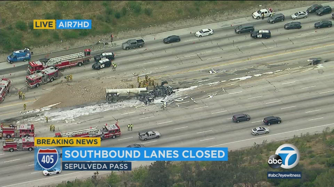 Truck-car crash on 405 leads to fiery wreck in Sepulveda