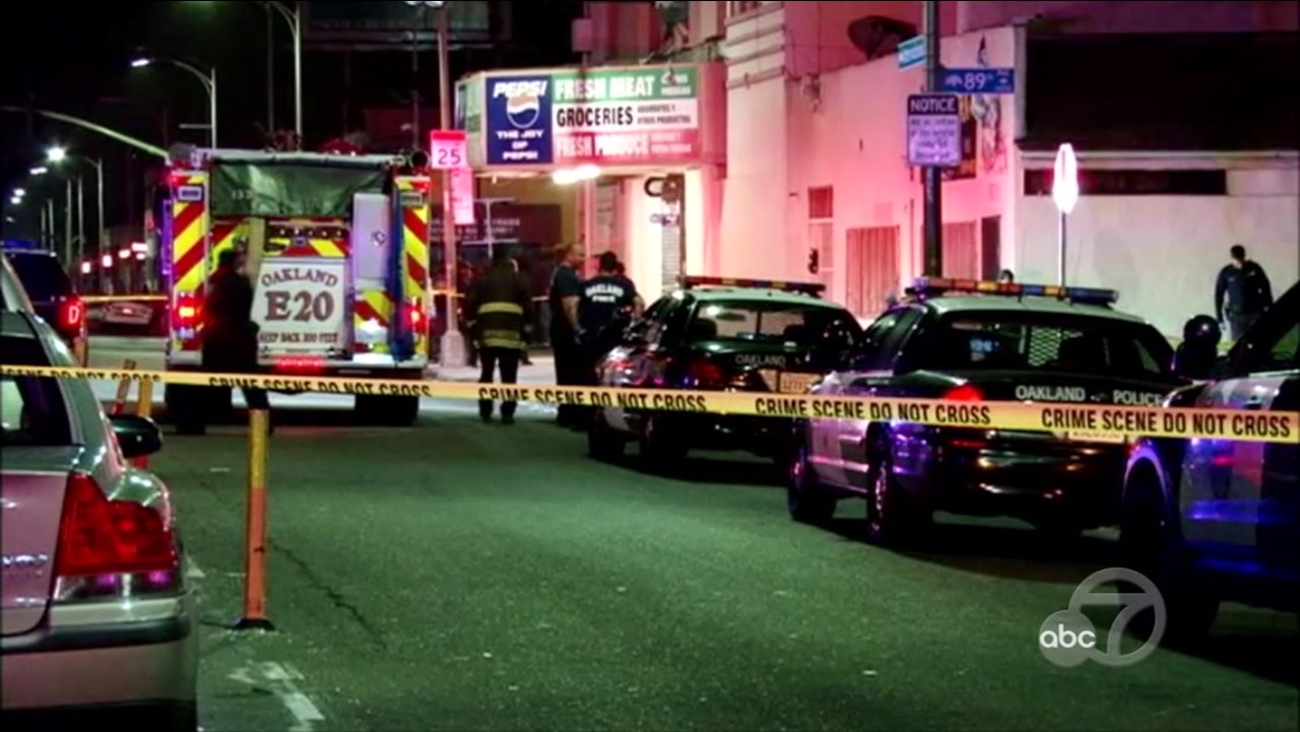 Shooting scene in Oakland, California on Monday, April 30, 2018.