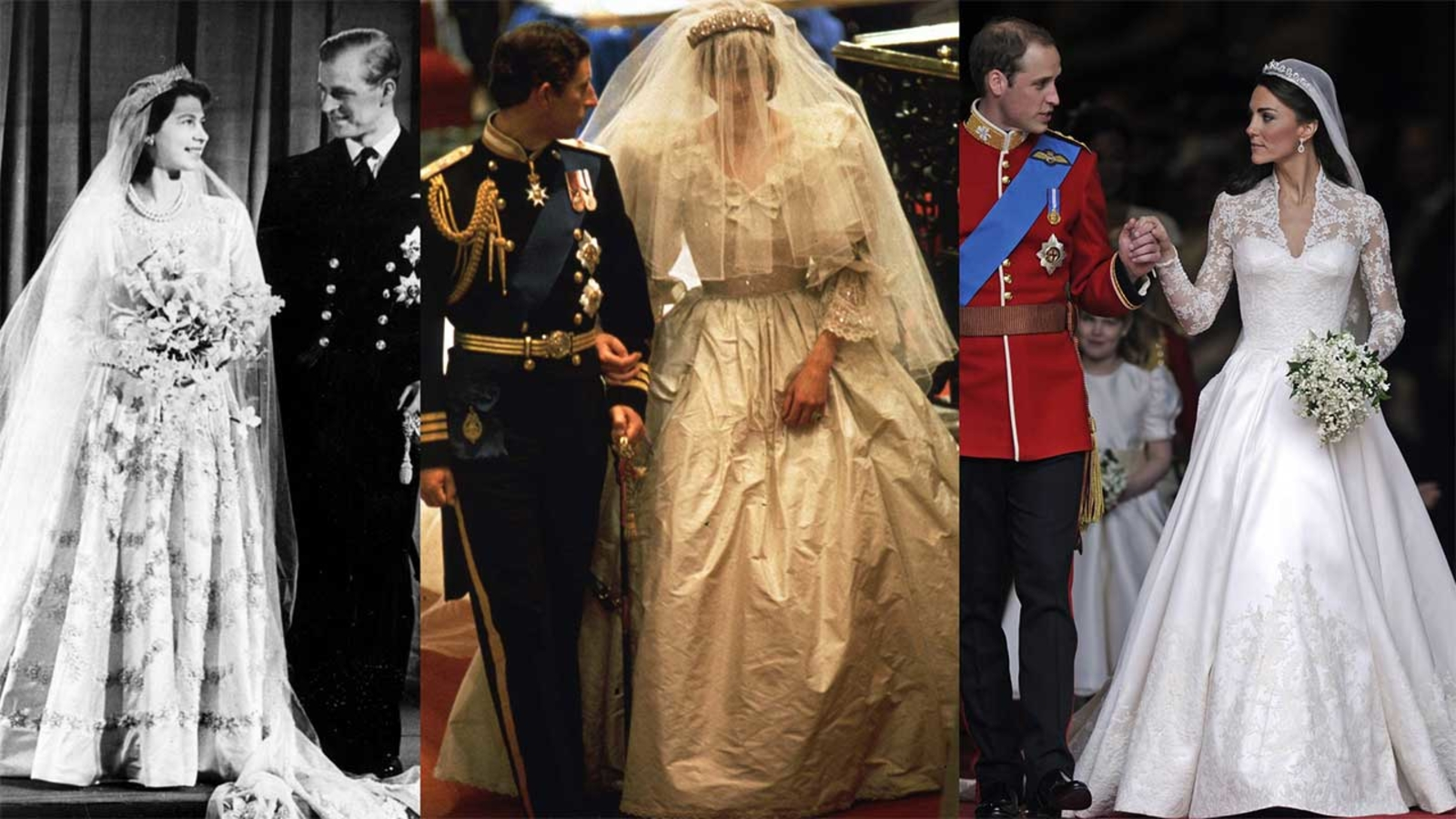 queen elizabeth ii princess diana kate middleton and beyond royal wedding dresses through the years abc7 chicago queen elizabeth ii princess diana