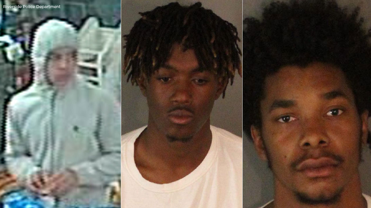 A sought suspect appears in surveillance video, alongside Nile Blackston-Jefferson and Gregory Michael Lee, arrested in connection to a robbery investigation in Riverside.