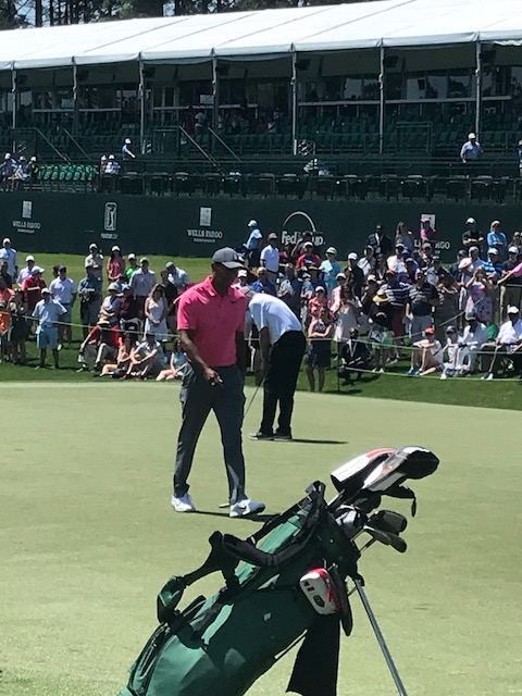 "<div class=""meta image-caption""><div class=""origin-logo origin-image wtvd""><span>WTVD</span></div><span class=""caption-text"">Tiger Woods was the main attraction on Pro-Am Day at Quail Hollow Club in Charlotte. Woods is playing in the Wells Fargo Championship this weekend. (Charlie Mickens)</span></div>"