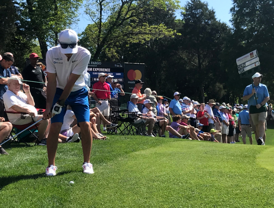 "<div class=""meta image-caption""><div class=""origin-logo origin-image wtvd""><span>WTVD</span></div><span class=""caption-text"">NASCAR driver Kyle Larson tees off Wednesday at the Pro-Am (Bridget Condon)</span></div>"