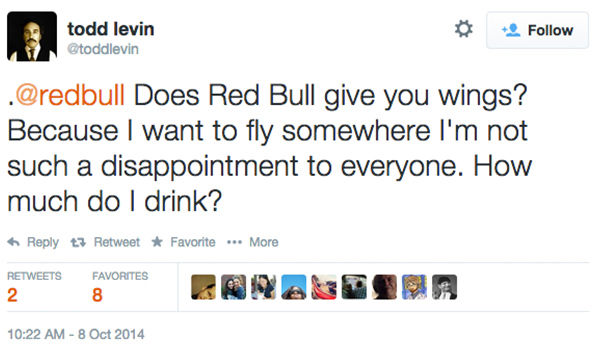 "<div class=""meta image-caption""><div class=""origin-logo origin-image ""><span></span></div><span class=""caption-text"">Red Bull agreed to pay out $13M in a class action settlement over their slogan and marketing tactics. Plantiff claims the energy drink did not ""give him wings."" (toddlevin/Twitter)</span></div>"