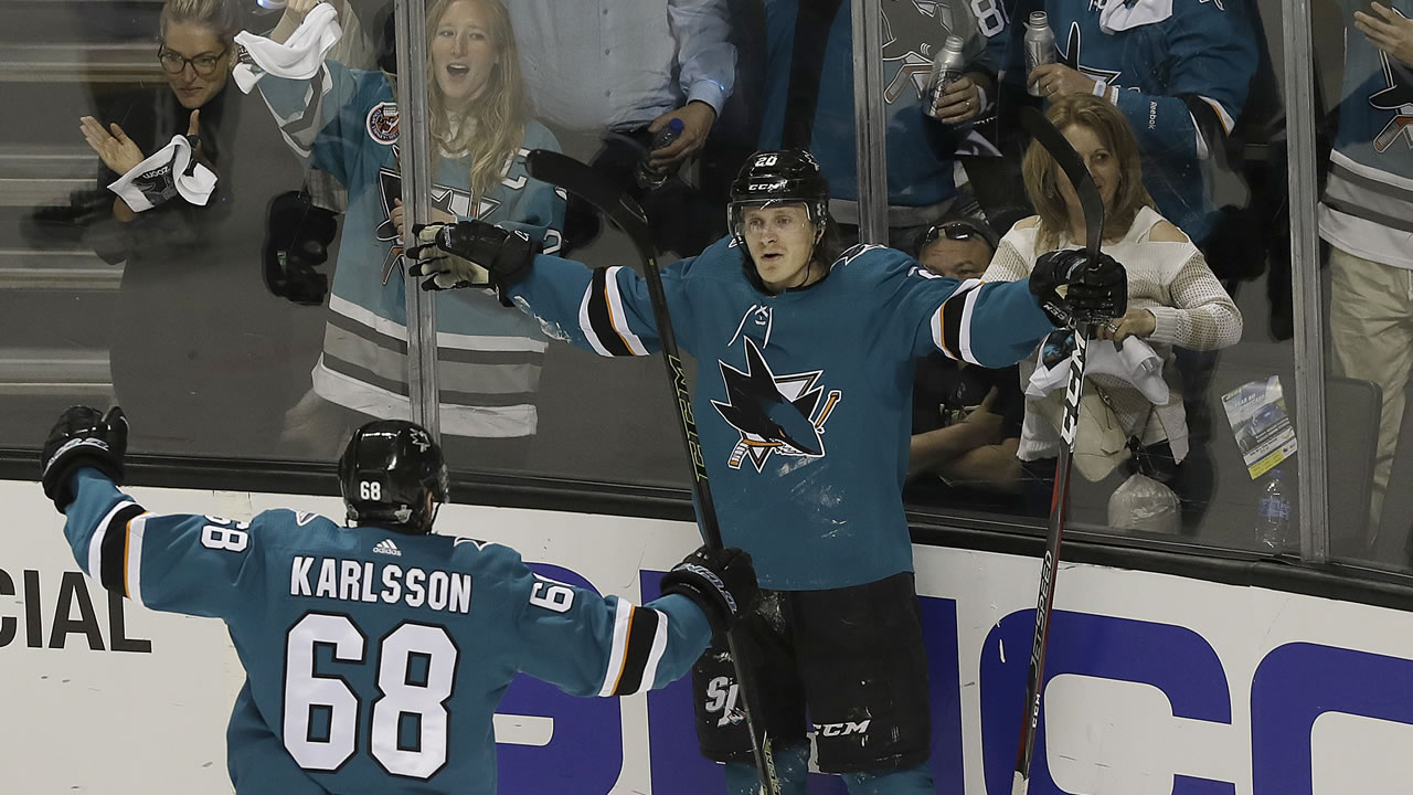 San Jose Sharks left wing Marcus Sorensen celebrates after scoring a goal in Game 4 of an NHL hockey playoff series in San Jose, Calif., Wednesday, May 2, 2018.