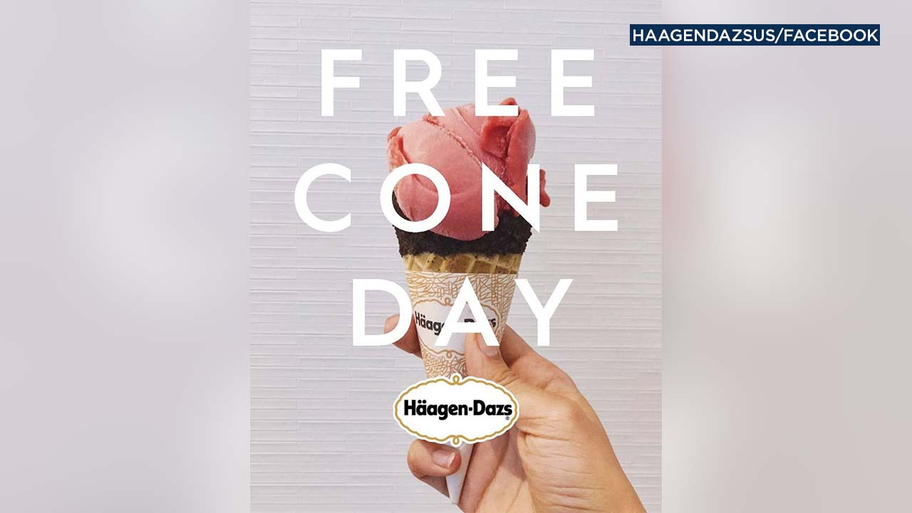 "An image from Haagen-Dazs' Facebook account features a promotion for the company's ""Free Cone Day"" campaign."